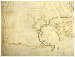 Coloured Plan of the Fortifications of Haven Etue, Ambletuse, France